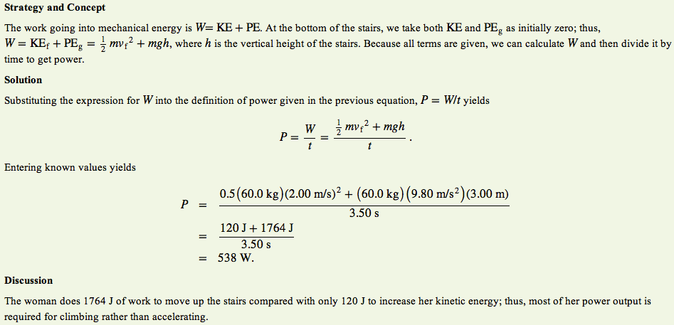 how to calculate work and power